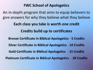 FWC School of Apologetics