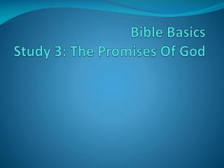 Bible Basics Study 3: The Promises Of God