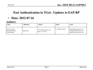 Fast Authentication  in  TGai :  Updates to EAP-RP