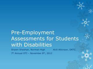 Pre-Employment Assessments for Students with Disabilities