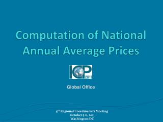Computation of National Annual Average Prices