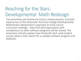 Reaching for the Stars:  Developmental  Math Redesign