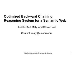 Optimized Backward Chaining Reasoning System for a Semantic Web