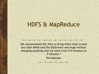 HDFS & MapReduce