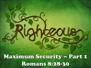 Maximum Security – Part 1 Romans 8:28-30