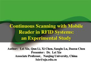 Continuous Scanning with Mobile Reader in  RFID Systems :  an Experimental Study