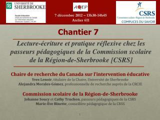 Chaire de recherche du Canada sur l ' intervention éducative