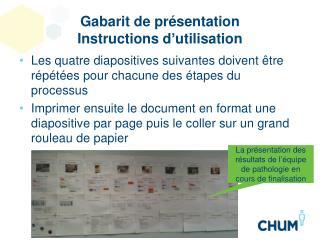 Gabarit de  présentation Instructions d'utilisation