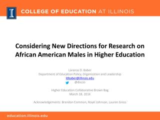 Considering New Directions for Research on African American Males in Higher Education