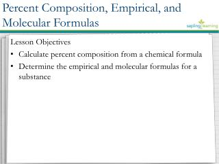 Lesson Objectives Calculate percent composition from a chemical formula
