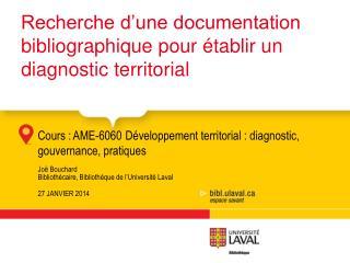 Recherche d'une documentation bibliographique  pour  établir un diagnostic  territorial