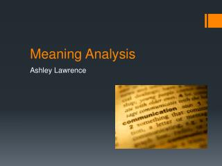 Meaning Analysis