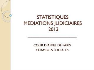 STATISTIQUES  MEDIATIONS JUDICIAIRES  2013