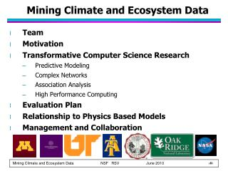 Mining Climate and Ecosystem Data