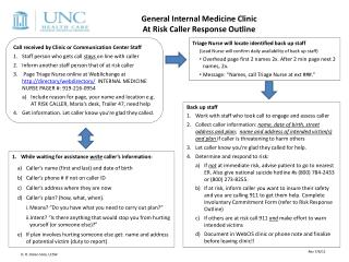 General Internal Medicine Clinic At Risk Caller Response Outline