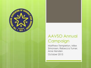 AAVSO Annual Campaign