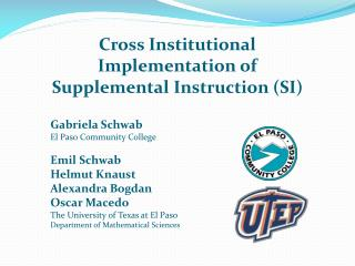 Cross Institutional Implementation of  Supplemental  Instruction (SI)