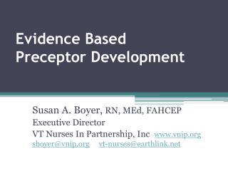 Evidence Based Preceptor Development