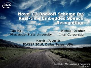 Novel CI- Backoff  Scheme for Real-time Embedded Speech Recognition