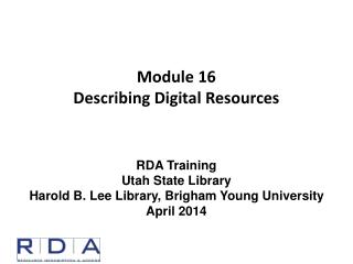 Module 16 Describing Digital Resources