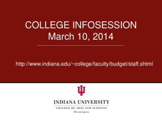 COLLEGE INFOSESSION March 10, 2014