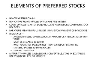 ELEMENTS OF PREFERRED STOCKS