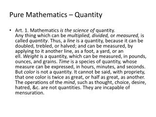 Pure Mathematics – Quantity
