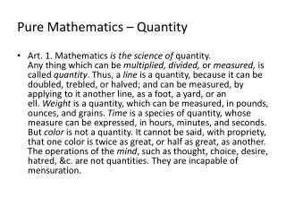 Pure Mathematics – Quantity