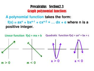 Precalculus    Section2.3 Graph polynomial functions