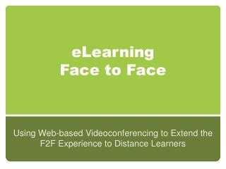 eLearning Face to Face