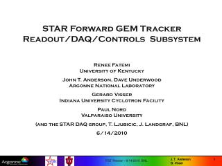 STAR Forward GEM Tracker                    Readout/DAQ/Controls  Subsystem