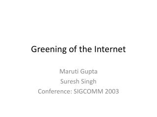 Greening of the Internet
