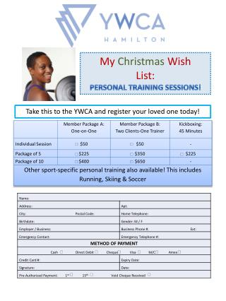 My Christmas Wish List: PERSONAL TRAINING SESSIONS!