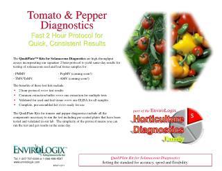 part of the  EnviroLogix Horticulture Diagnostics Family
