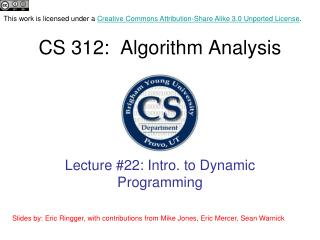 CS 312:  Algorithm  Analysis