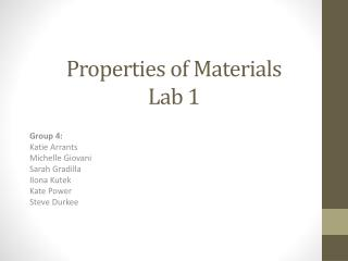 Properties of Materials Lab 1