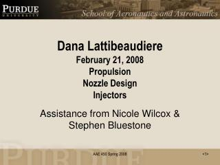 Dana Lattibeaudiere February 21, 2008 Propulsion Nozzle Design Injectors