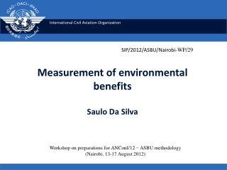 Measurement of environmental  benefits Saulo Da Silva