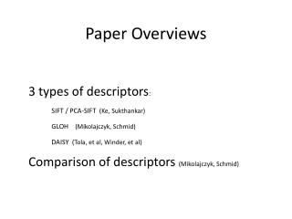 Paper Overviews