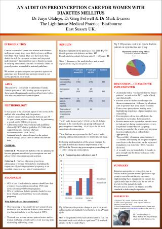 AN AUDIT ON PRECONCEPTION CARE FOR WOMEN WITH  DIABETES MELLITUS