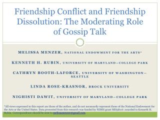 Friendship Conflict and Friendship Dissolution: The Moderating Role of Gossip Talk