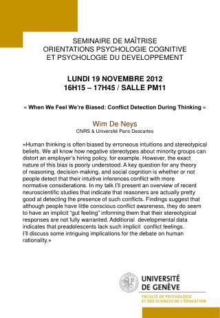 SEMINAIRE  DE MAÎTRISE  ORIENTATIONS PSYCHOLOGIE COGNITIVE  ET PSYCHOLOGIE DU DEVELOPPEMENT