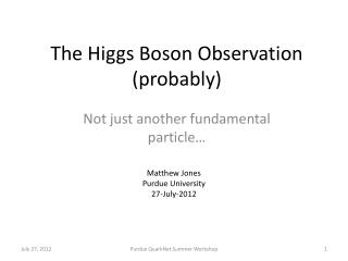 The Higgs Boson Observation (probably)