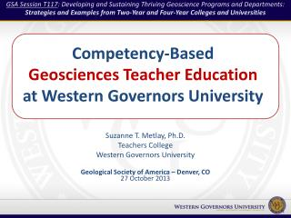 Competency-Based  Geosciences Teacher Education  at Western Governors University