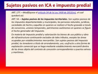 Sujetos pasivos en ICA e impuesto predial