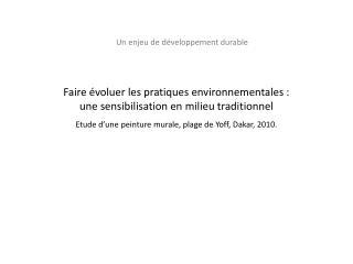 Un enjeu de développement  durable