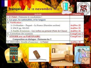 français  2    le  15 novembre  2012