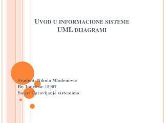 Uvod  u  informacione sisteme UML  dijagrami