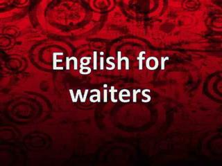 English for waiters
