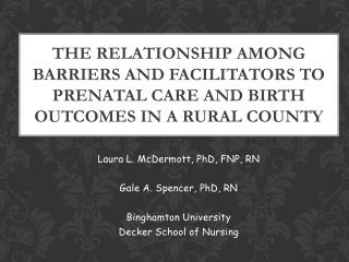 Laura L. McDermott, PhD, FNP, RN Gale A. Spencer, PhD, RN Binghamton University